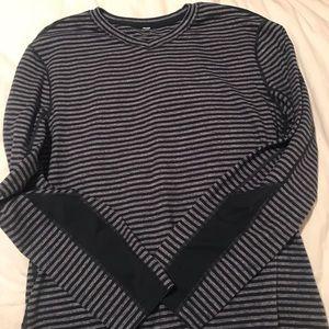 Lululemon athletica navy grey stripe shirt- size m